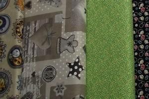 Gran surtido de telas, telas básicas combinables, telas blanco-negro,